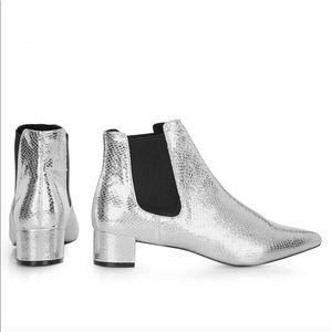 NEW TOPSHOP Krazy Silver Metallic Chelsea Bootie